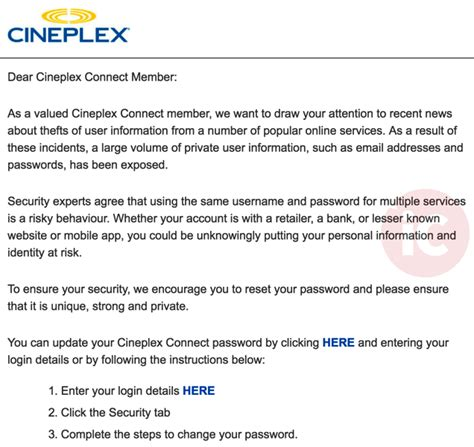 cineplex login cineplex asks users to update passwords as security