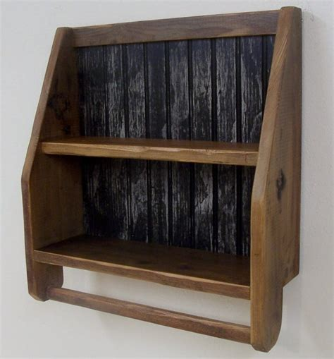 wood bathroom shelf with towel bar rustic wood primitive shelf with towel bar kitchen or bath