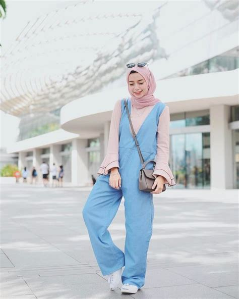 Jumpsuit Biru modest hijabie fashion with jumpsuit style abaya style style fashion ideas
