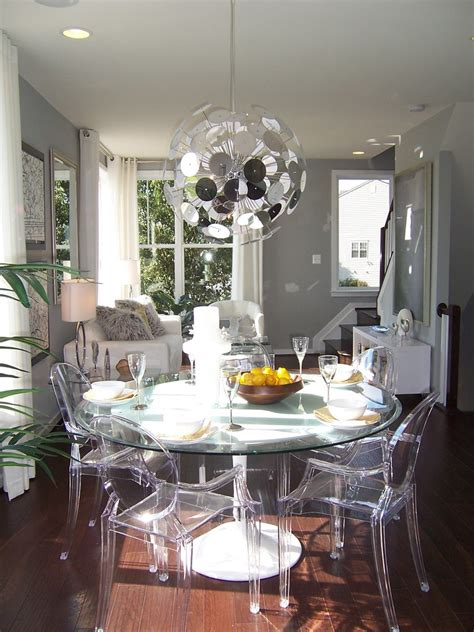 Images of dining room with dark floors, dining tables for