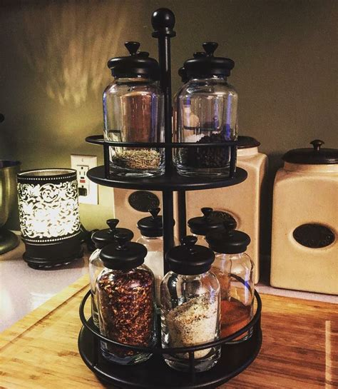 rotating spice rack and jars from pottery barn my home