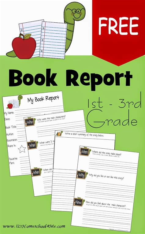book report template for 2nd grade free book report template