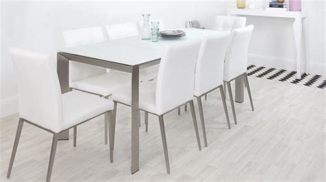 Frosted Glass Dining Table And Chairs Frosted Glass Extending Dining Table Real Leather Chairs