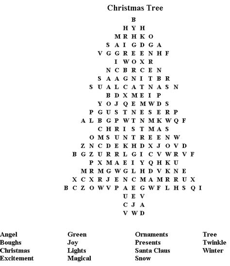 christmas tree word search volunteer party pinterest