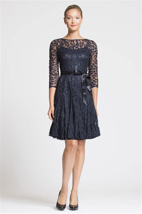 sleeve cocktail dress navy lace cocktail dress with sleeves teri jon