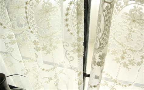 damask voile curtains victorian damask floral embroidered off white sheer voile