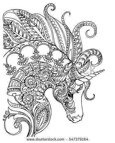 unicorn mandala coloring pages elegant zentangle patterned unicorn doodle page for adult