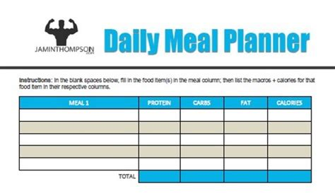 Free Printable Meal Plan Template Meal Planning Jaminthompson Com Macro Meal Planner Template