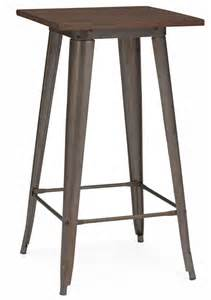 Rustic Table Ls Dreux Rustic Matte Elm Wood Top Steel Bar Table 42 Ls 9110 Rmtw By Design Lab Mn Bizchair