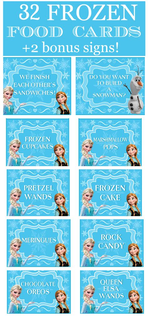Food Gift Card - 32 frozen party food cards bonus signs printabelle