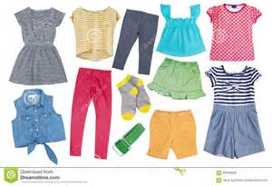 color image apparel child cotton bright summer clothes set collage