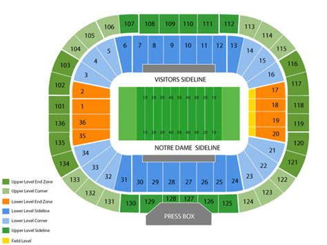 nd stadium seating chart viptix notre dame stadium tickets