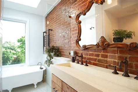 half bathroom designs brick tiles home interiors rugged and ravishing 25 bathrooms with brick walls