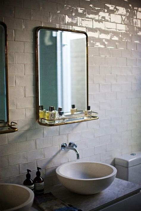 rustic subway tilevintage mirror bathroom remodel
