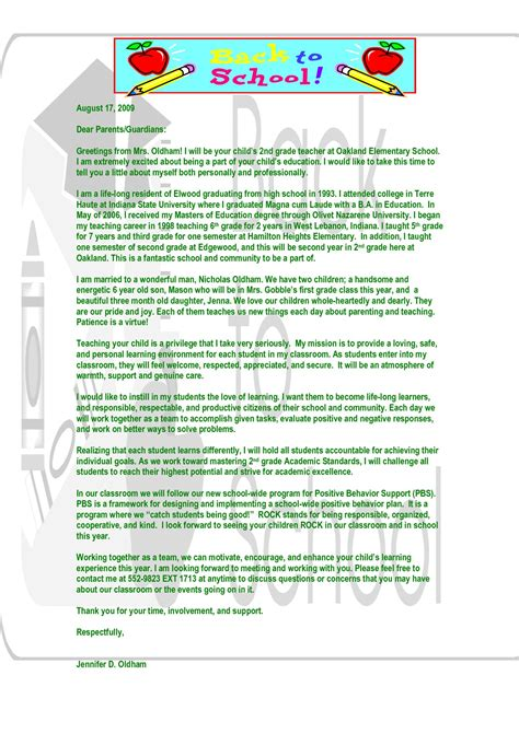 parent letter from template behavior letter to parents from template exles