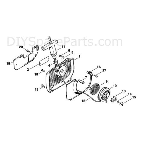 stihl ms 440 parts diagram stihl ms 440 chainsaw ms440 c parts diagram rewind starter