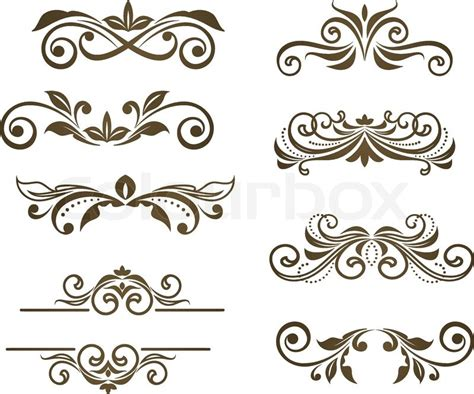vintage floral motifs for design isolated on white stock