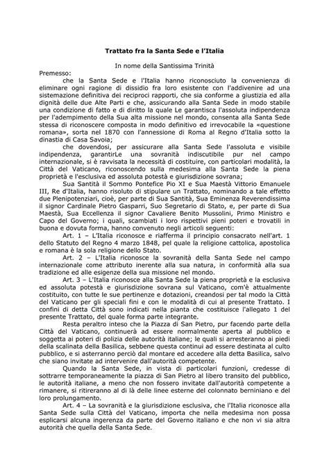 patti lateranensi testo trattato lateranense dispense