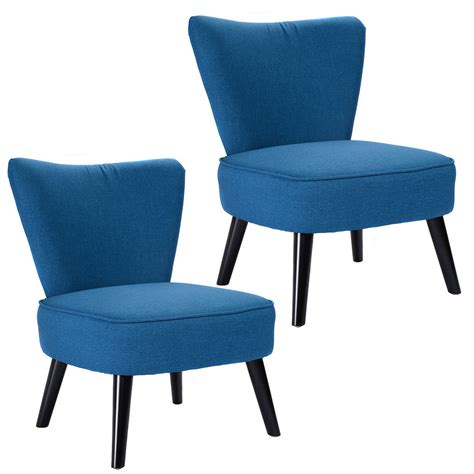 Fabric Chairs For Living Room by Set Of 2 Armless Accent Dining Chair Modern Living Room Furniture Fabric Wood Ebay