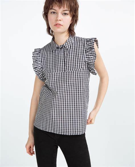 Gingham Blouse gingham poplin top blouses tops zara united states