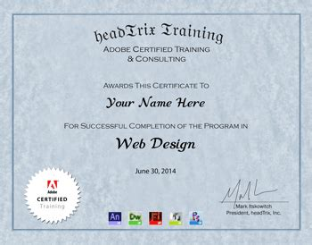 web design development certificate online web design training certificate in los angeles headtrix