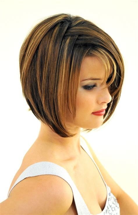 Layered Bob Hairstyles With Bangs by Angled Stacked Bob With Bangs Hairstyle 2013