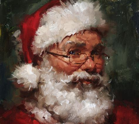 original oil portrait santa claus on linen canvas panel 8x10