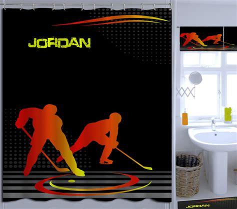 sports themed shower curtain orange hockey shower curtain sports kids shower curtain
