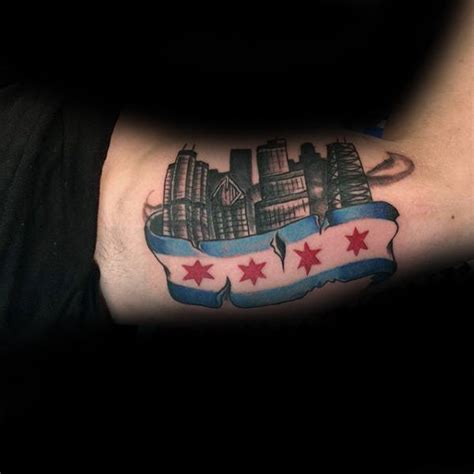 chicago flag tattoo designs 50 chicago flag designs for illinois ink ideas