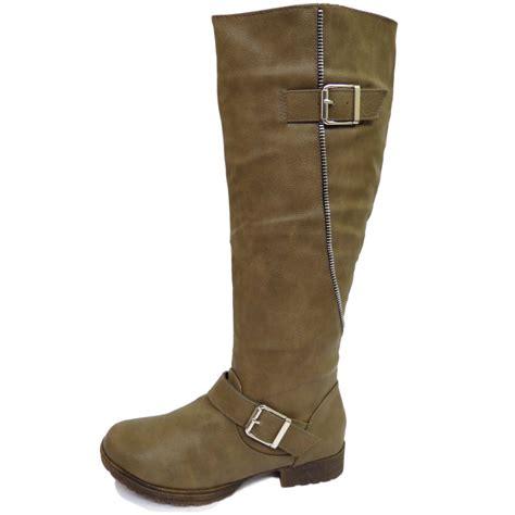 taupe knee high low heel zip up calf winter