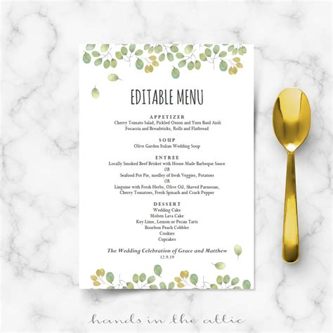 menu templates for weddings leaves wedding reception menu template wedding menu
