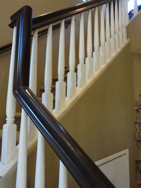 how to paint stair banisters railings stair railing painting update dinendesign