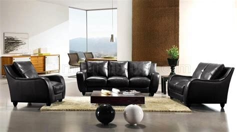 italian living room set black full italian leather 3pc modern living room set