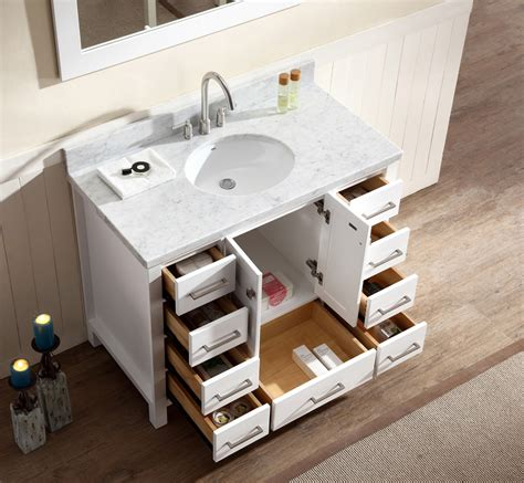 ace 43 inch single sink bathroom vanity set in white