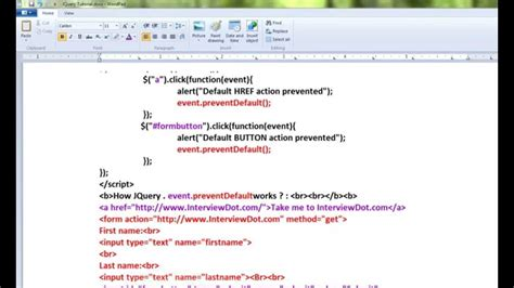 jquery tutorial in tamil tamil event preventdefault method in jquery demo youtube