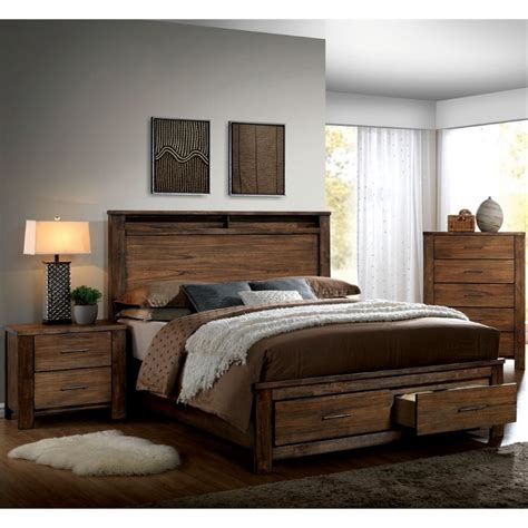 oak king bedroom set furniture of america nangetti rustic 3 piece king bedroom