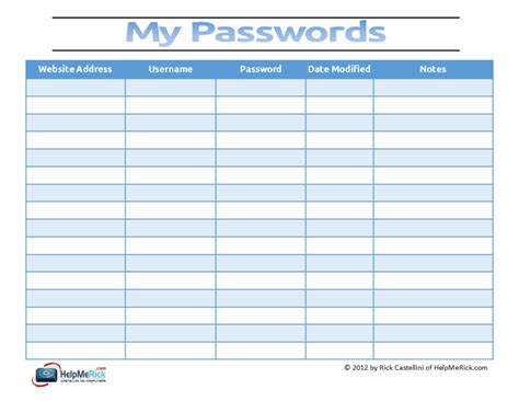 username and password template start your password tracking system today helpmerick
