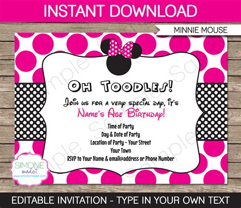 minnie mouse invitations templates free 9 best images of free printable minnie mouse birthday