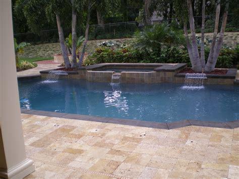 travertine pool deck  fire pit