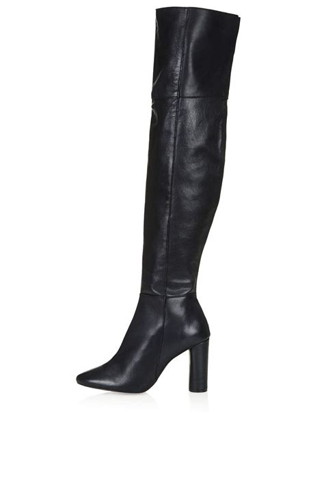 the knee leather boots collide leather knee boots topshop