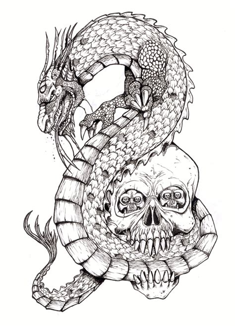dragon and skull tattoo designs and skull by tjiggotjurring on deviantart