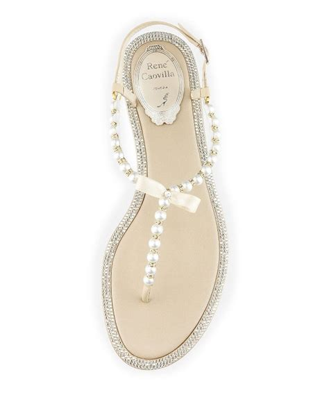 rene caovilla pearl sandals chagne pearly flat sandals by rene