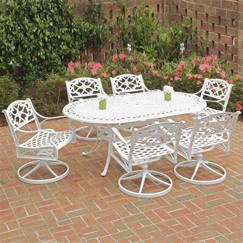 White Aluminum Patio Furniture Sets Shop Home Styles Biscayne 7 White Aluminum Patio Dining Set At Lowes