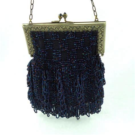 vintage beaded handbags blue iridescent beaded purse vintage