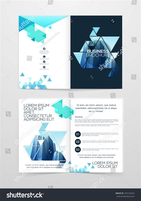 creative two page professional brochure template stock