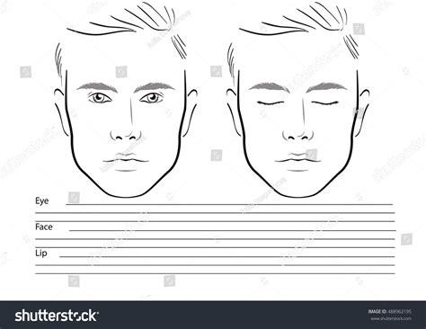 men face chart makeup artist blank stock vector 488962195