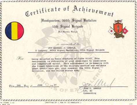 certificate of achievement template army army certificate of achievement template