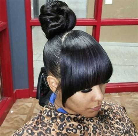 weave buns and bangs 17 best images about black hair updos on pinterest