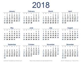 Calendar 2018 Printable Yearly 2018 Calendar Templates And Images