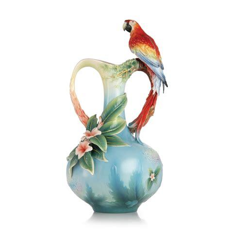 Franz Porcelain Vases by Franz Collection Porcelain Crowning Scarlet Macaw Vase